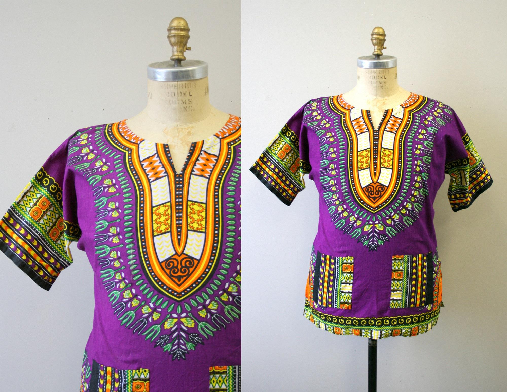 80s Tops, Shirts, T-shirts, Blouse   90s T-shirts 1980S Purple Dashiki $24.00 AT vintagedancer.com