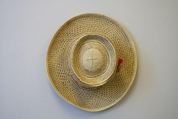 1960s Two Tone Wide Brim Straw Hat - image 5