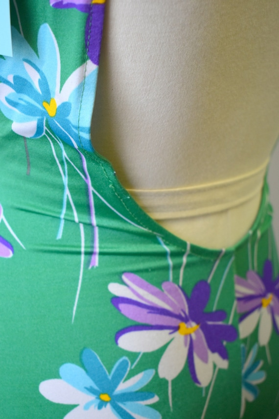 1970s Robby Len Green Floral Swimsuit - image 6