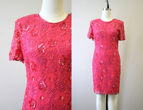 1980s Pink Lace and Sequin Cocktail Dress