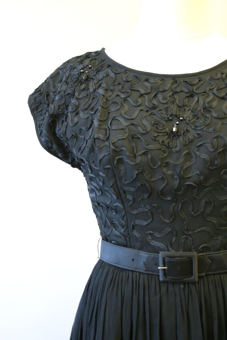 1960s R/&K Black Soutache and Chiffon Party Dress