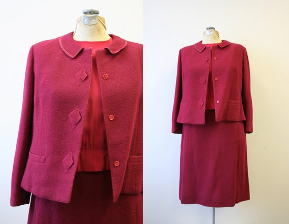 1950s/60s Tailorbrooke Claret Red Skirt Suit with