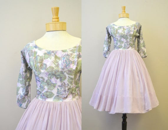 1950s Parklane Debs Lavender Floral Dress