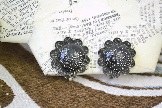 1960s Black Enamel Daisy Clip Earrings