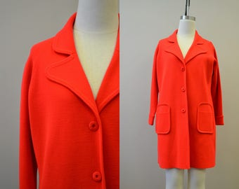 1960s LeRoy Bright Red Mod Knit Coat