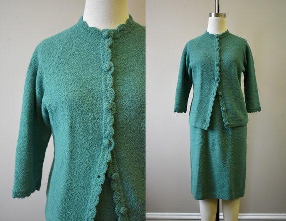 1950s Boucle Knit Skirt Suit