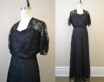 1940s Black Lace Evening Gown