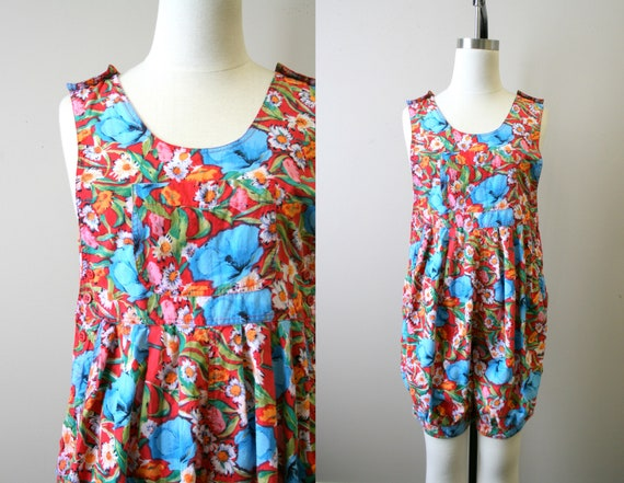1980s Floral Cotton Romper