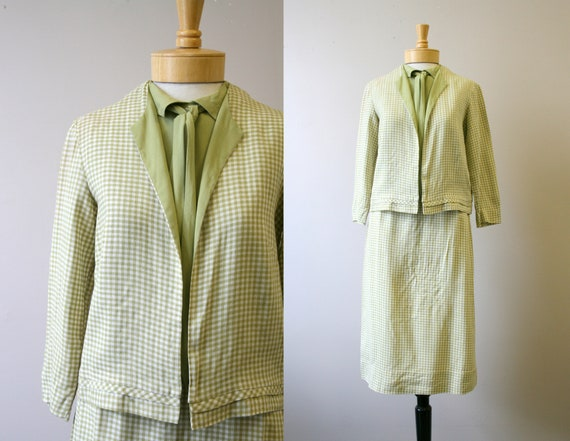 1960s Green Gingham Skirt Suit and Matching Blouse