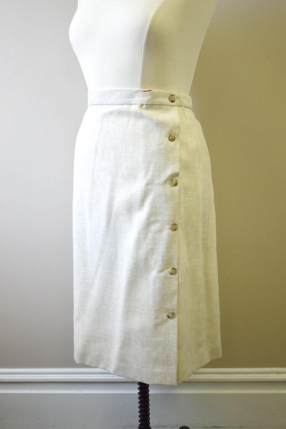 1970s Beige Stiff Linen Skirt Suit - image 7