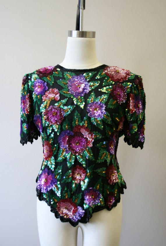 1980s Sequined Floral Blouse - image 3