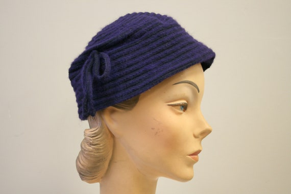 1940s Peck and Peck Purple Wool Hat