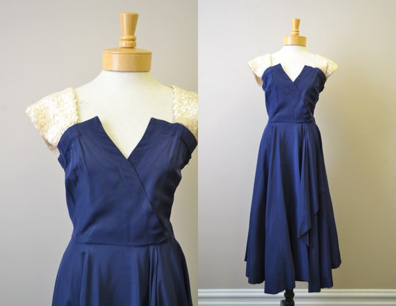 1940s Navy Taffeta Dress with Sequin Shoulder Stra