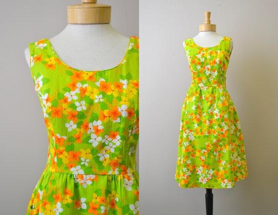 1960s Malia Hawaiian Floral Dress