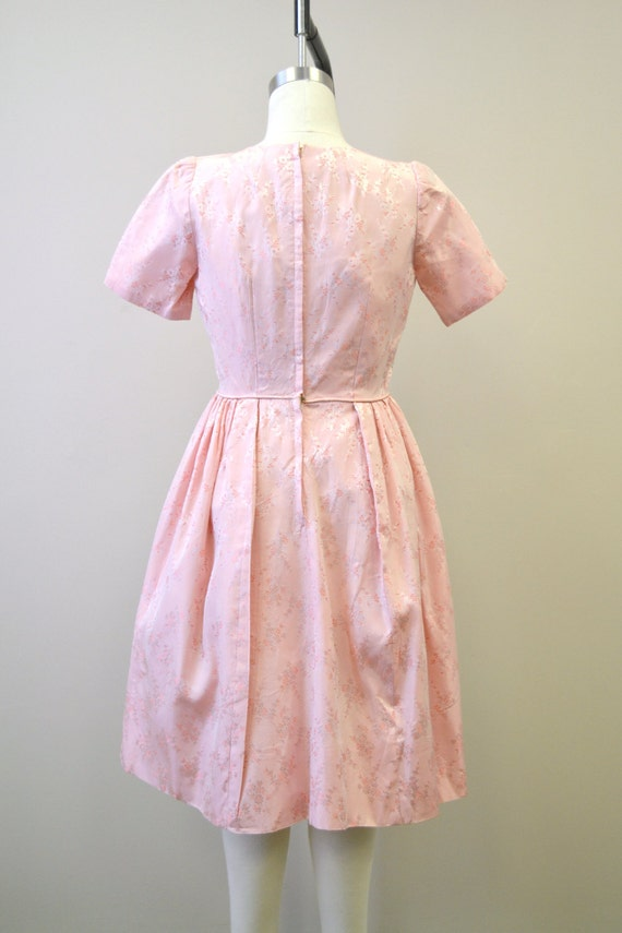 1950s Pink Brocade Dress - image 3