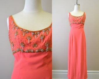 1960s Cameo Beaded Coral Evening Dress