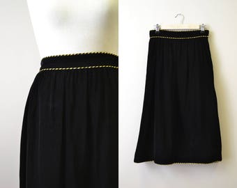 1980s Albert Capraro Black Velvet Skirt