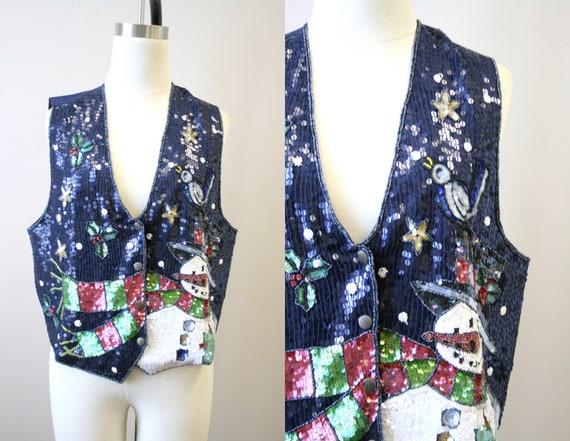 1990s Snowman Sequin Vest