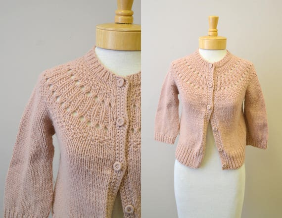 1940s Beige Chunky Hand Knit Cardigan
