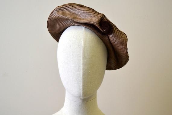 1940s New York Creations Brown Straw Fiddlehead Ha