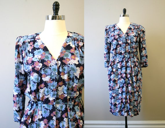 1980s-does-40s Floral Print Rayon Dress