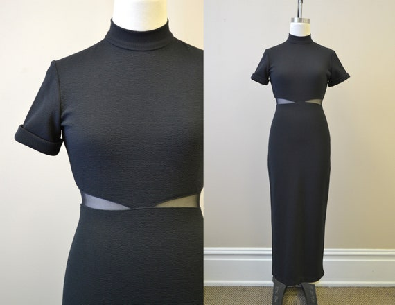 1990s Black Body Con Dress with Mesh