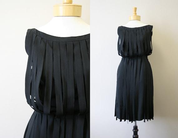 1950s Kasper Black Wide Fringe Dress