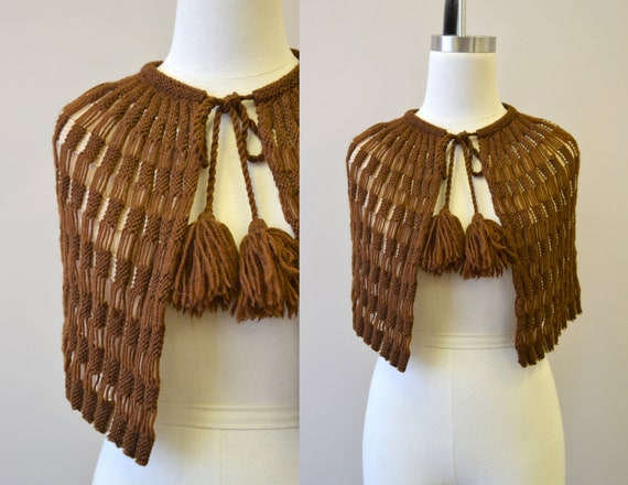 1930s Brown Hand Knit Capelet
