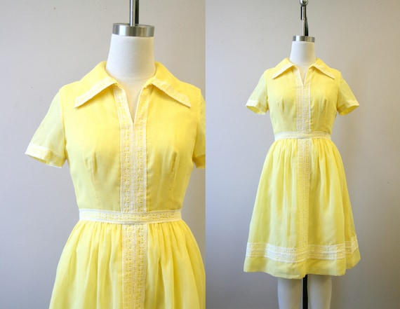 1960s Carlye Yellow Voile Dress