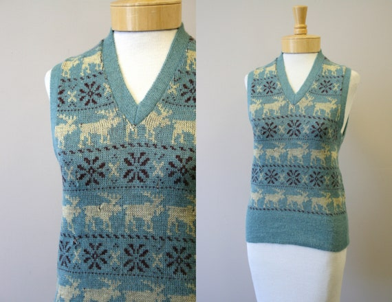 1930s Princeton Knitting Mills Moose Wool Sweater