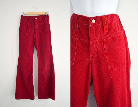 1970s Wrangler Cranberry Red Cotton Corduroy Flare
