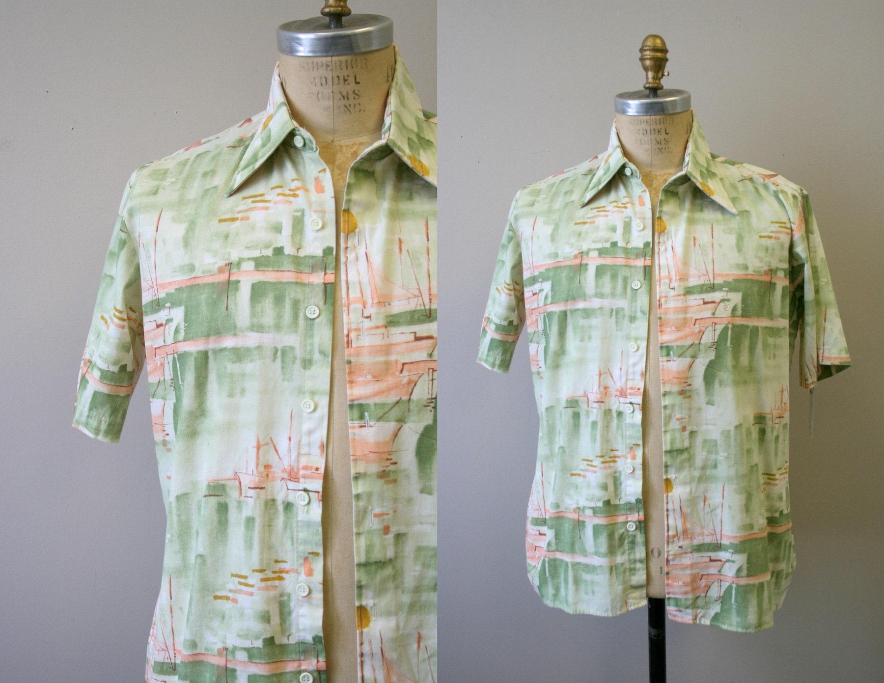 1970s Men's Shirt Styles – Vintage 70s Shirts for Guys 1970S Mens Boat Print Shirt $28.00 AT vintagedancer.com