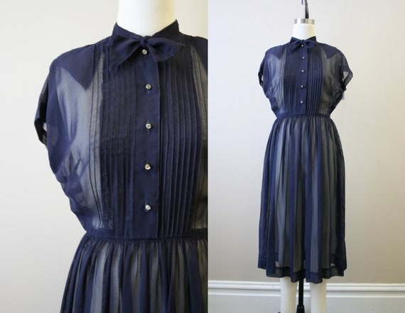 1940s Georgette Navy Sheer Dress