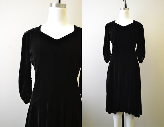 1940s Black Velvet Swing Dress