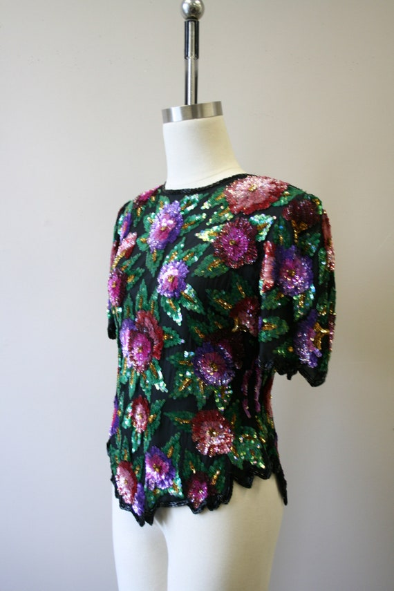 1980s Sequined Floral Blouse - image 4