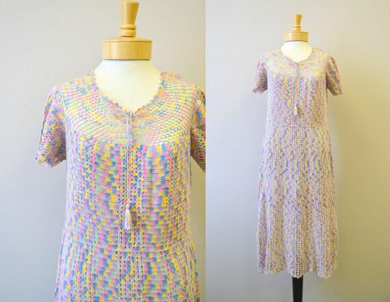 1930s Pastel Crochet Dress