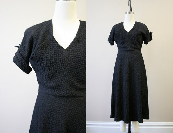 1940s Black Puckered Dress