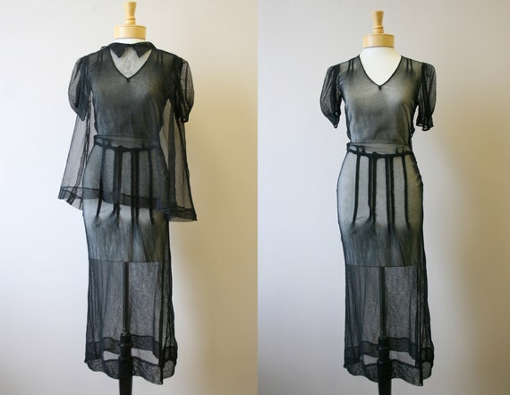 1930s Black Net Dress and Vest