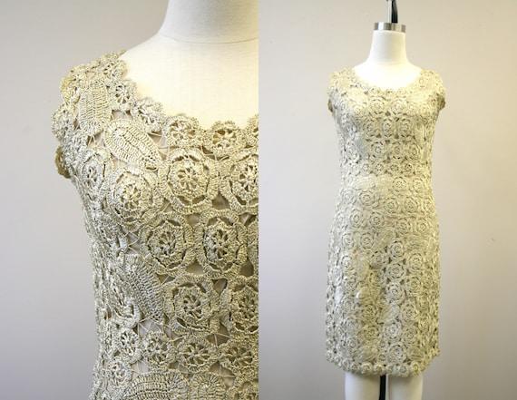 1950s Apicella Beige Raffia Crocheted Dress