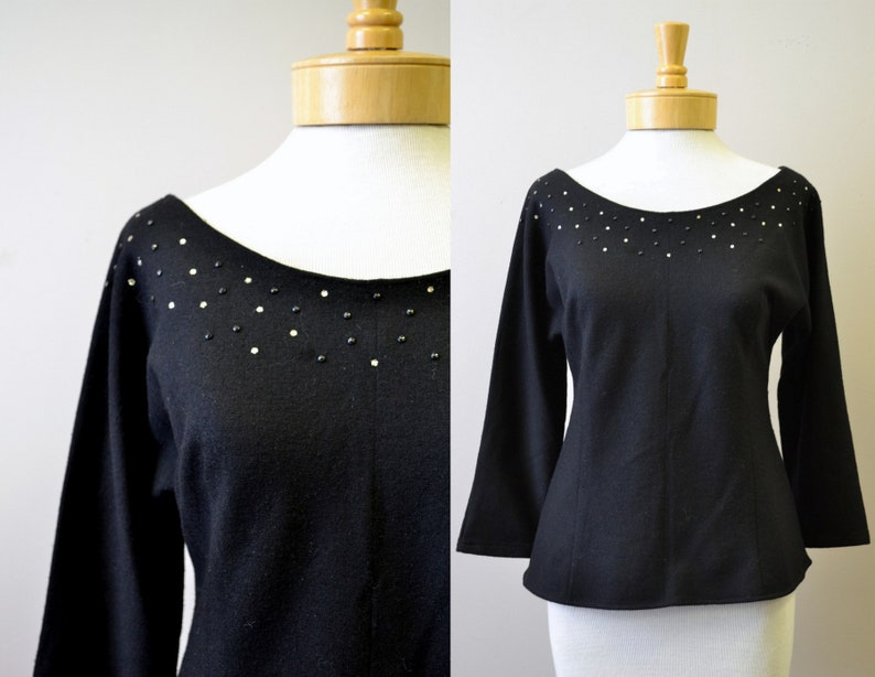 93bb40f871 1950s Rojay Black Wool Knit Rhinestone Shirt | Etsy