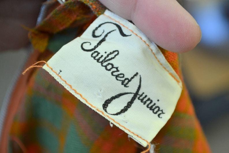 1950s Autumn Plaid Wool Dress