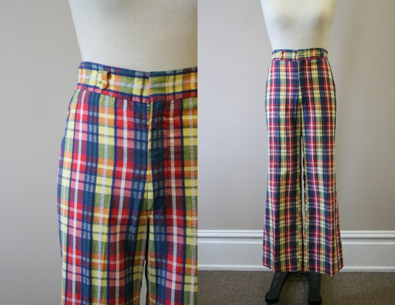 1970s Plaid Seersucker Pants