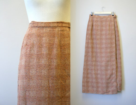 1980s Brown Tweed Wool Wrap Maxi Skirt