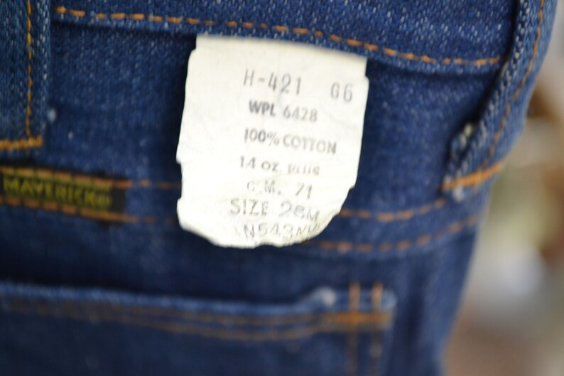 1970s NOS Maverick Cotton Denim Jeans Size 28 x 32