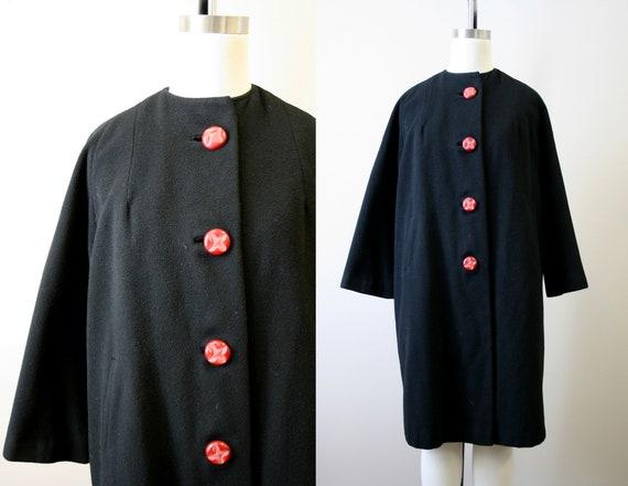 1950s Black Cashmere Coat