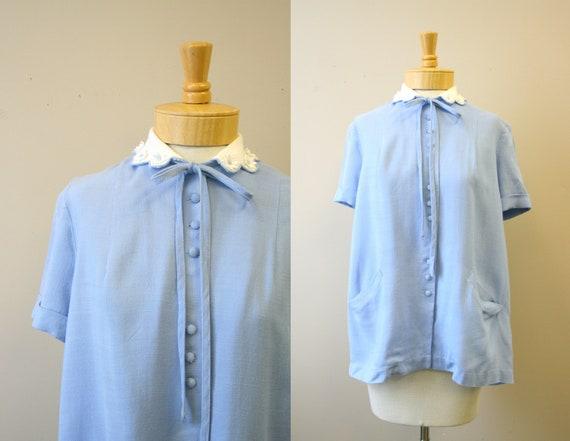 1950s Helene Scott Blue Linen Maternity Blouse