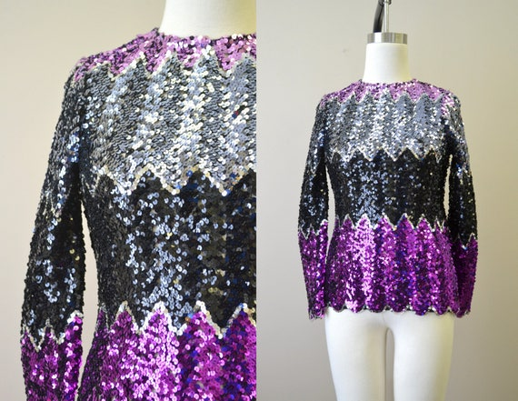 1970s Chevron Stripes Sequined Top
