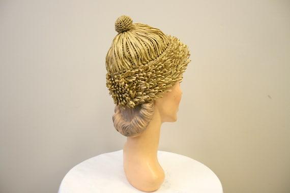 1950s Bonwit Teller Raffia Beanie Hat
