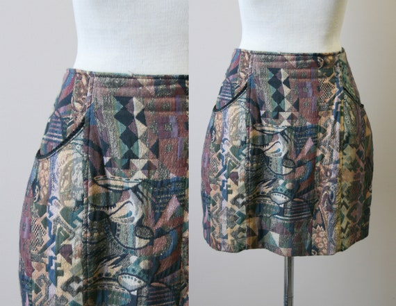 1980s Glittery Tapestry Mini Skirt