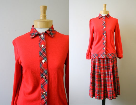 1950s Sporteens Red Plaid Wool Knit Shirt and Plea